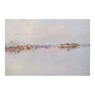 1905 Original Italian Print - Italian Travel Colour Plate - Isola Bella and Isola Pescatori, Lago Maggiore For Sale