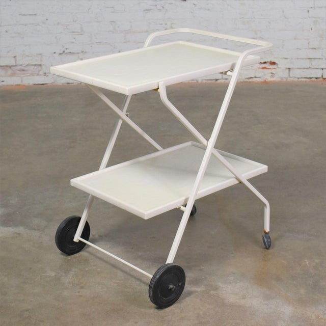 Mid Century Modern Samsonite Tiered Patio Drink Cart of Fiberglass and Enameled Steel Tube in White For Sale - Image 13 of 13