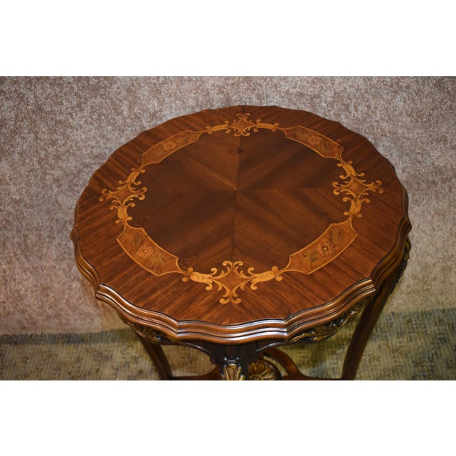 1950s French Carved & Inlaid Accent Table For Sale In Philadelphia - Image 6 of 13