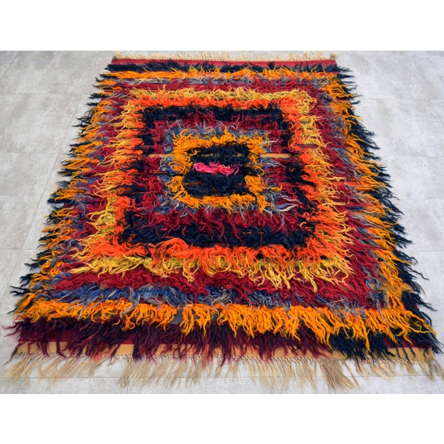 Antique Turkish Oushak Shaggy Mohair Tulu Rug - 4′6″ × 6′3″ - Image 3 of 10