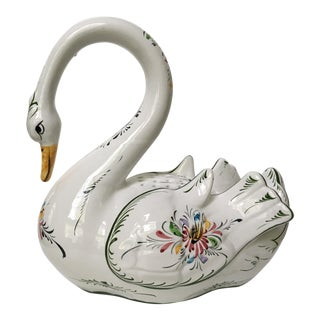 Large Hand Painted Vintage Swan With Flower Vase/Frog- Made in Portugal For Sale