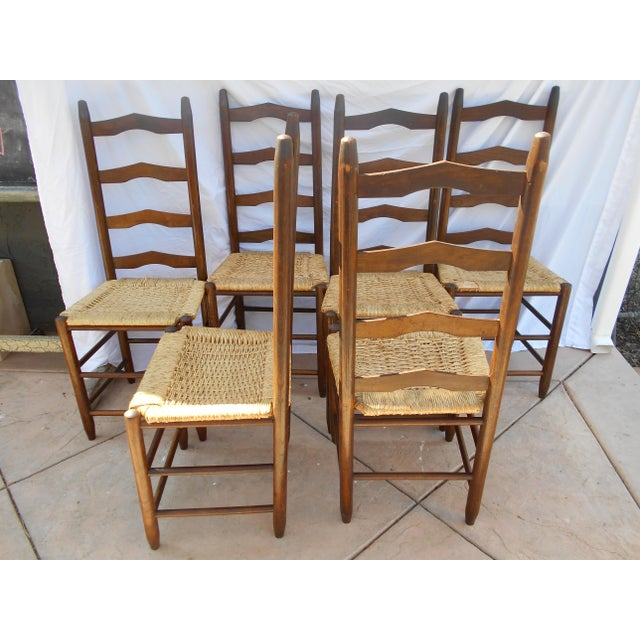 Vintage French Ladder Back Dining Chairs - Set of 6 - Image 4 of 9