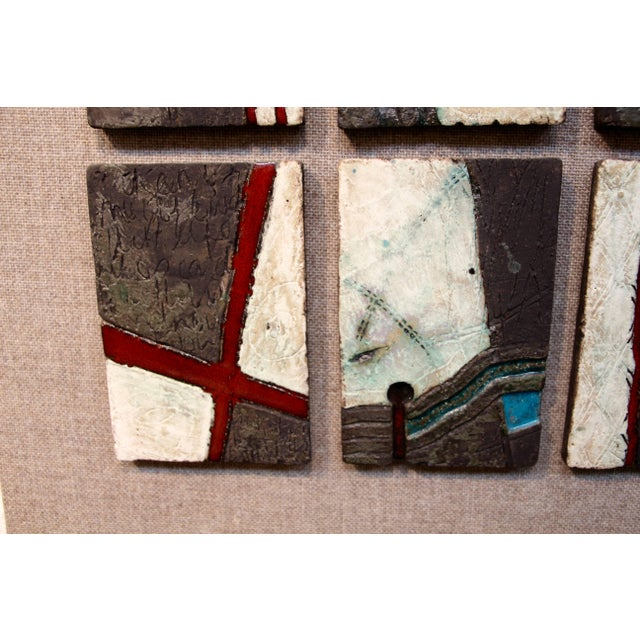 Abstract 20 Unique Tiles Mounted as a Wall Sculpture For Sale - Image 3 of 10