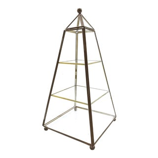 Large Vintage Geometric Pyramid, Three Level Glass and Brass Display Case With Hinged Door For Sale