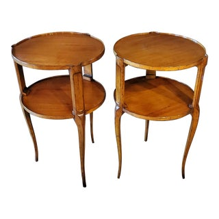 Roche Bobois French Country Louis XV Style Wooden Side Table - a Pair For Sale