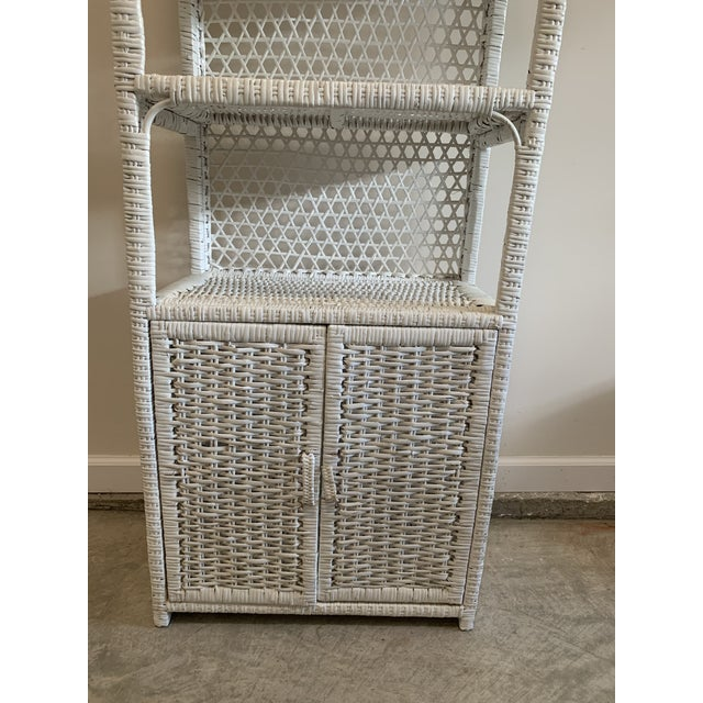1970s Vintage Tall Rustic White Wicker Rattan Cabinet Shelf With Bottom Dual Magnetic Stay Shut Doors For Sale - Image 5 of 8