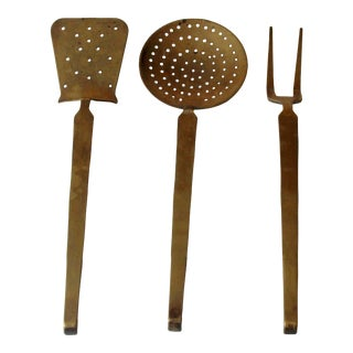 1950s Solid Large Brass Serving Utensils - Set of 3 For Sale