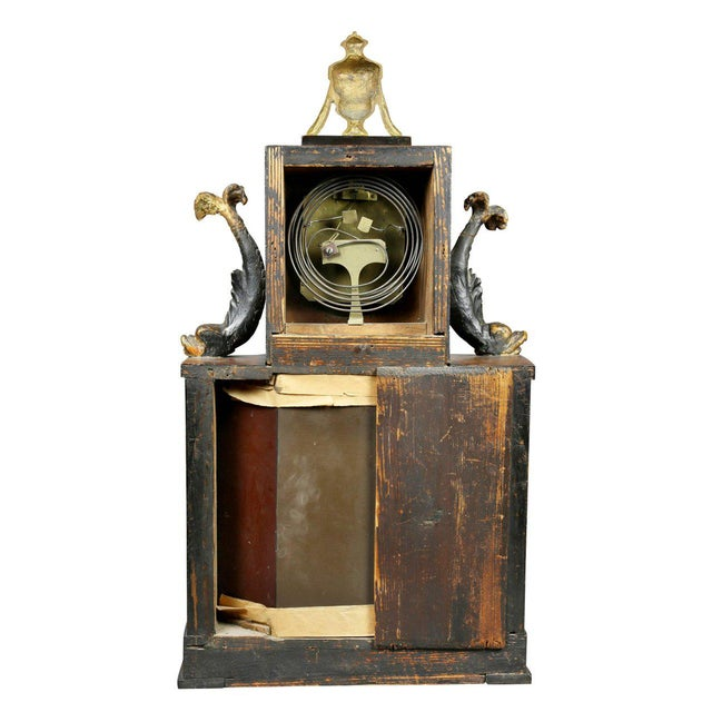 Biedermeier Fruitwood and Ebonized Mantle Clock For Sale - Image 9 of 10