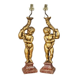 Italian Rococo Giltwood Figural Lamps - a Pair For Sale