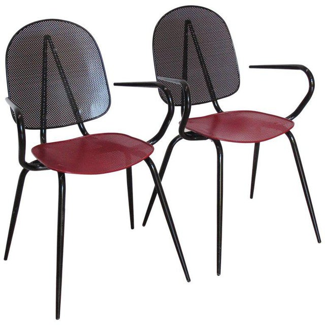 Manner of Mathieu Mategot Black and Red Perforated Metal Armchairs For Sale - Image 11 of 11