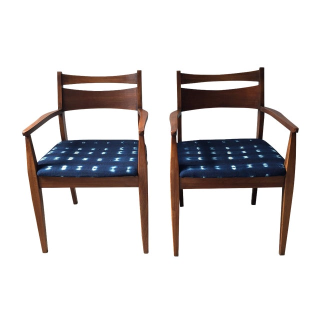 Walnut Mid-Century Dining Chairs - A Pair - Image 1 of 6