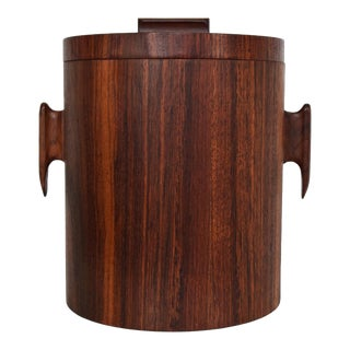 Mid Century Modern Rosewood Ice Bucket, in the Style of Jean Gillon