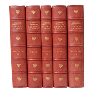Scandinavian Leather-Bound Books S/5 For Sale