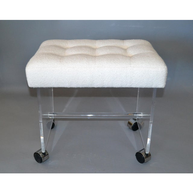 Mid-Century Modern Lucite Stool, Vanity Stool Tufted Boucle Fabric Seat Casters For Sale - Image 10 of 12