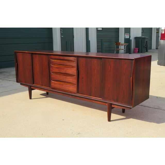 Brown 1960s Mid-Century Modern Rosewood Vodder or Omann Style Sideboard For Sale - Image 8 of 8