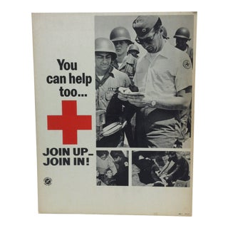 "1950 Vintage ""You Can Help Too ... u.s. Army - Join Up"" Red Cross Sign For Sale"