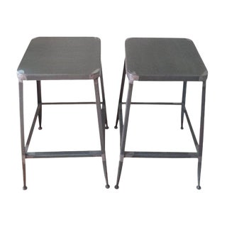Cb2 Industrial Flint Counter Stools - a Pair For Sale
