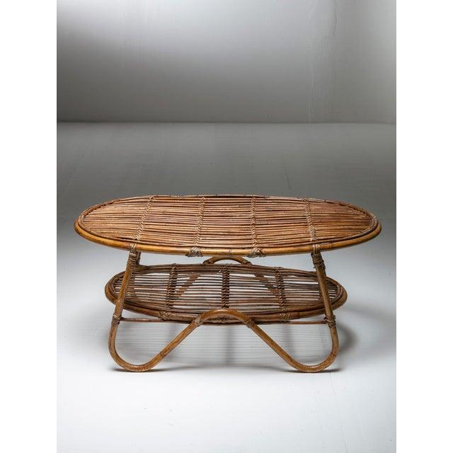 Italian Italian 60s Wicker Side Table For Sale - Image 3 of 5
