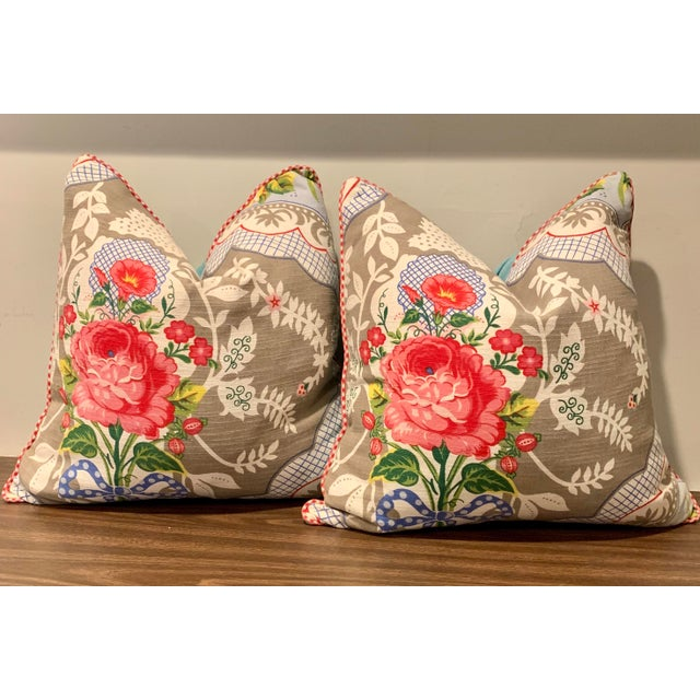 Cottage European Pip Store Floral Down Pillows - a Pair For Sale - Image 11 of 11