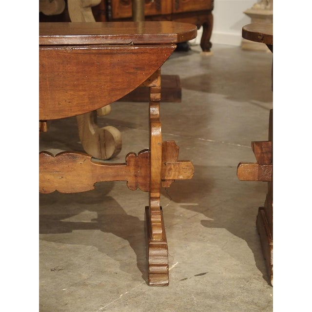 Brown Pair of Antique Walnut Drop Leaf Side Tables From Italy, Circa 1900 For Sale - Image 8 of 12