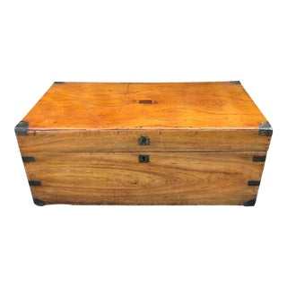 Antique 19th C Chinese Camphor Chest Trunk or Side Table For Sale
