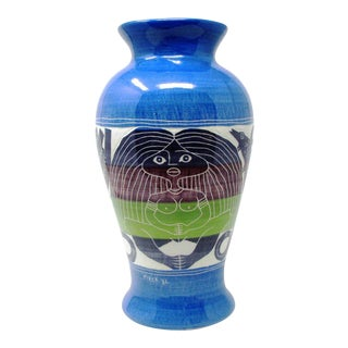 """1990s Modernist Art Deco Style Polychrome Etched Ceramic Vase Signed and Dated """"Piper 92"""" For Sale"""