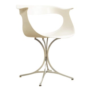 Vintage Mid Century Laverne White Fiberglass and Chrome Lotus Arm Chair For Sale