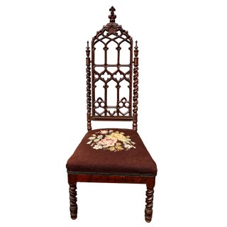 Antique Gothic Victorian Barley Twist Carved Walnut Needlepoint Tall Back Chair For Sale