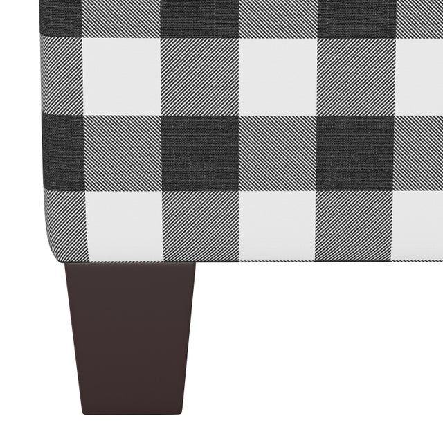 Contemporary Square Ottoman in Classic Black Gingham For Sale - Image 3 of 5