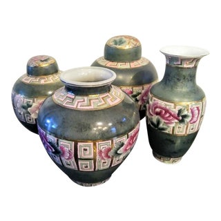 Greek Key Slate Green and Pink Chinoiserie Floral Ginger Jar Vase With Brass Inlay Set of 4 For Sale