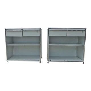 Vintage Usm Fritz Haller Pair Modular Media Storage Credenza Cabinets - a Pair For Sale