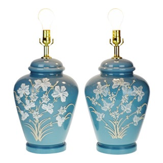 Mid Century Ginger Jar Style Robins Egg Blue Hand Decorated Glass Table Lamps - a Pair For Sale