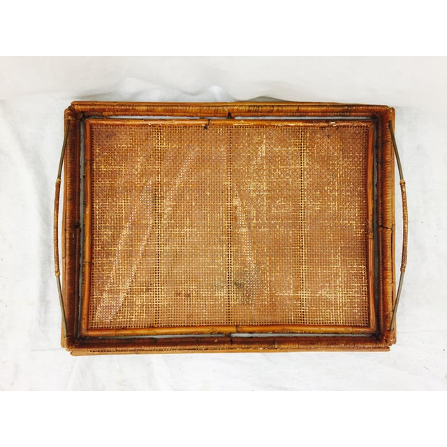 Vintage Woven Cane & Brass Serving Tray For Sale - Image 5 of 9