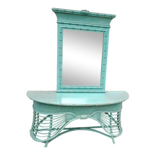 Vintage Faux Bamboo Rattan Draped Palm Beach Regency Mint Green Turquoise Console Table Mirror Set - a Pair For Sale