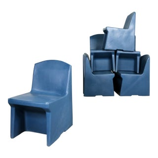 Blue Molded Plastic Side or Slipper Chairs by Norix Set of Eight For Sale