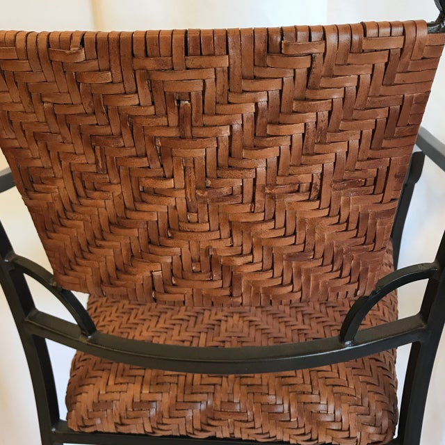 Iron and Woven Leather Bar Stools - a Pair For Sale - Image 9 of 12