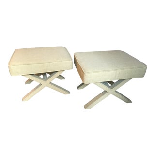 Boho Chic X-Base Ottomans - a Pair For Sale
