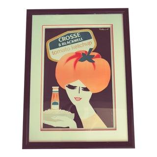 Vintage Villemot Crosse Blackwell Advertising Poster, Framed For Sale