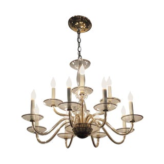 Vintage Murano Glass 12 Arm Chandelier For Sale