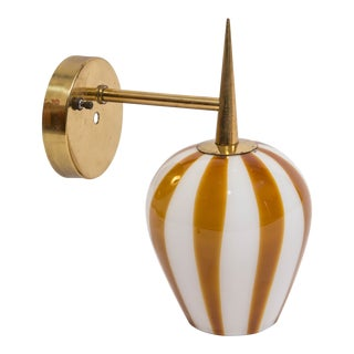 Venini Hand Blown Glass Sconce on Brass Arm For Sale