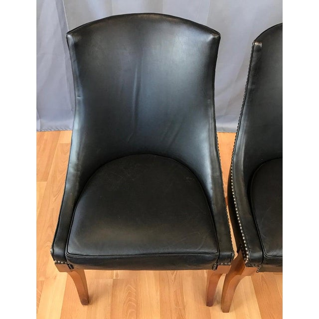 Wondrous Pair Of Circa 1940S Black Leather Slipper Chairs Ibusinesslaw Wood Chair Design Ideas Ibusinesslaworg