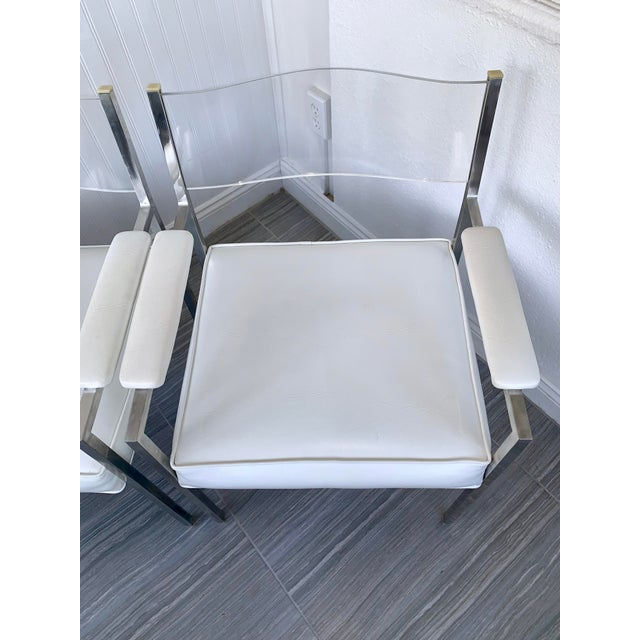 White 1970s Vintage Lucite Armchairs- A Pair For Sale - Image 8 of 13