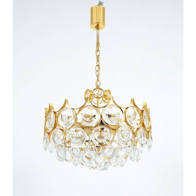 Hollywood Regency Palwa Pair of Petite Gold Brass Glass Chandeliers Lamps Refurbished, 1960 For Sale - Image 3 of 7