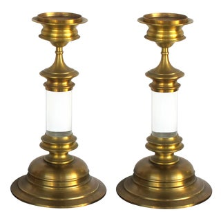 A Large and Striking Pair of American 1960's Brass and Lucite Candlesticks For Sale