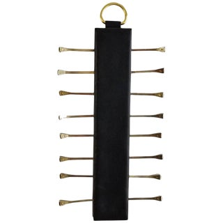 Elegant Leather and Brass Tie Rack by Longchamp Paris, France, 1960s For Sale