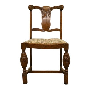 1920s Antique Solid Oak Splat Back Vanity Chair with Carved Flowers For Sale
