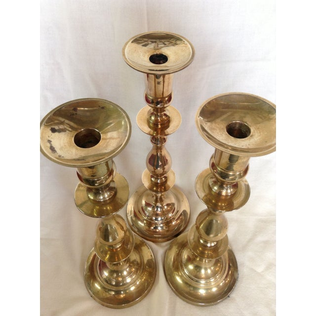 Trio of Tall Brass Candlesticks - Image 3 of 6