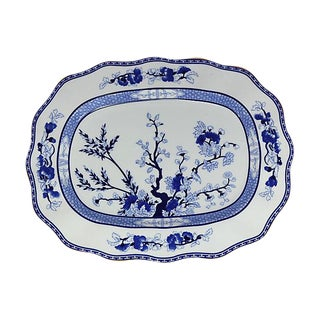 Vintage Coalport Blue Tree Platter For Sale