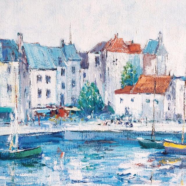 Impressionist Vintage Impressionist European Mediterranean Coast Oil Painting For Sale - Image 3 of 9