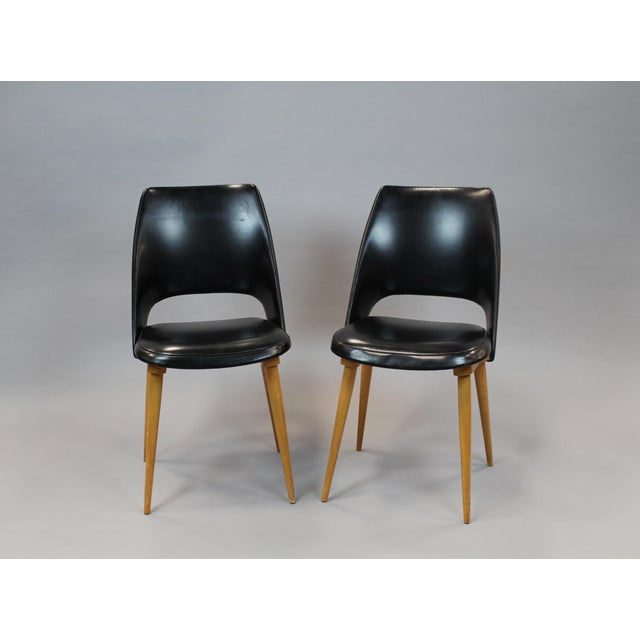 Mid-Century Vinyl Noir Side Chairs - a Pair - Image 2 of 6